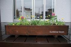 住宅展示場の一角にも、木製コンテナの寄せ植えを置かせていただいています。